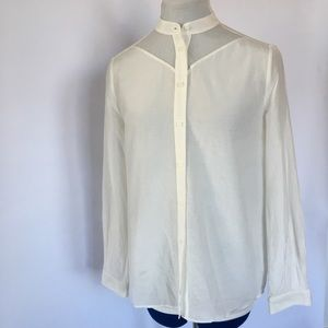 & Other Stories cream fishnet panel button down